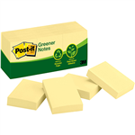 POSTIT 653RP 100 RECYCLED GREENER NOTES 35 X 48MM YELLOW PACK 12