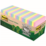 POSTIT 654R24CPAP 100 RECYCLED GREENER NOTES 76 X 76MM HELSINKI CABINET PACK 24