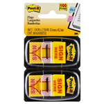 POSTIT 680SH2 MESSAGE FLAGS SIGN HERE YELLOW TWIN PACK 100