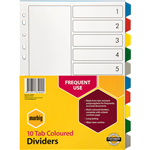 MARBIG DIVIDER PP 10TAB A4 ASSORTED