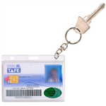 REXEL FUELCREDIT CARD HOLDER WITH 25MM KEY RING CLEAR PACK 10