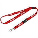 REXEL LANYARD FLAT STYLE SWIVEL CLIP PREPRINTED VISITOR RED PACK 5