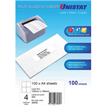 UNISTAT 38930 MULTIPURPOSE LABEL 4UP 105 X 148MM WHITE PACK 100