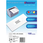 UNISTAT 38933 MULTIPURPOSE LABELS 24UP 70 X 36MM WHITE PACK 100