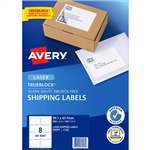 AVERY 959006 L7165 TRUEBLOCK SHIPPING LABEL LASER 8UP WHITE PACK 100