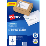 AVERY 959030 L7169 TRUEBLOCK SHIPPING LABEL LASER 4UP WHITE PACK 100