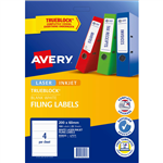 AVERY 959035 L7171 TRUEBLOCK FILING LABELS LASERINKJET 4UP WHITE PACK 25