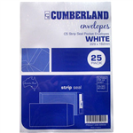 CUMBERLAND C5 ENVELOPES POCKET PLAINFACE STRIP SEAL 85GSM 162 X 229MM WHITE PACK 25
