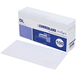 CUMBERLAND DL ENVELOPES SECRETIVE WALLET PLAINFACE STRIP SEAL POST OFFICE SQUARES 80GSM 110 X 220MM WHITE TRAY 100
