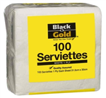 BLACK AND GOLD NAPKIN LUNCHEON ECONOMY 1PLY WHITE PK100