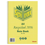 SPIRAX 810 NOTEBOOK 7MM RULED 70 RECYCLED CARDBOARD COVER SPIRAL BOUND A4 120 PAGE