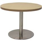 RAPIDLINE CIRCULAR COFFEE TABLE 600 X 425MM NATURAL OAK TABLE TOP  STAINLESS STEEL BASE