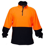 PRIME MOVER MF115 HI VIS POLAR FLEECE JUMPER 2 TONE 43922 ZIP