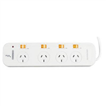 ITALPLAST POWER BOARD 4 OUTLET INDIVIDUAL SWITCHES WHITE