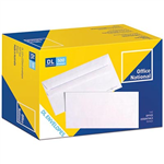 OFFICE NATIONAL DL ENVELOPES SECRETIVE WALLET PLAINFACE SELF SEAL 80GSM 110 X 220MM WHITE BOX 500