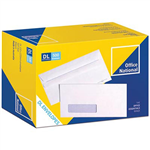 OFFICE NATIONAL DL ENVELOPES SECRETIVE WALLET WINDOWFACE SELF SEAL 80GSM 110 X 220MM WHITE BOX 500