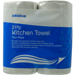 INITIATIVE KITCHEN TOWEL 2 PLY 60 SHEETS PACK 2