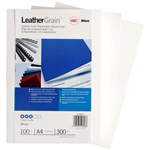 GBC IBICO BINDING COVER LEATHERGRAIN 300GSM A4 WHITE PACK 100