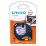 DYMO 16952 LETRATAG LABELLING TAPE PLASTIC 12MM X 4M BLACK ON CLEAR