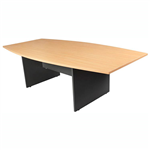 OXLEY CONFERENCE TABLE BOAT SHAPED 1200 X 2400 X 730MM BEECHIRONSTONE