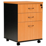 OXLEY MOBILE PEDESTAL 2 DRAWER 1 FILE BEECHIRONSTONE